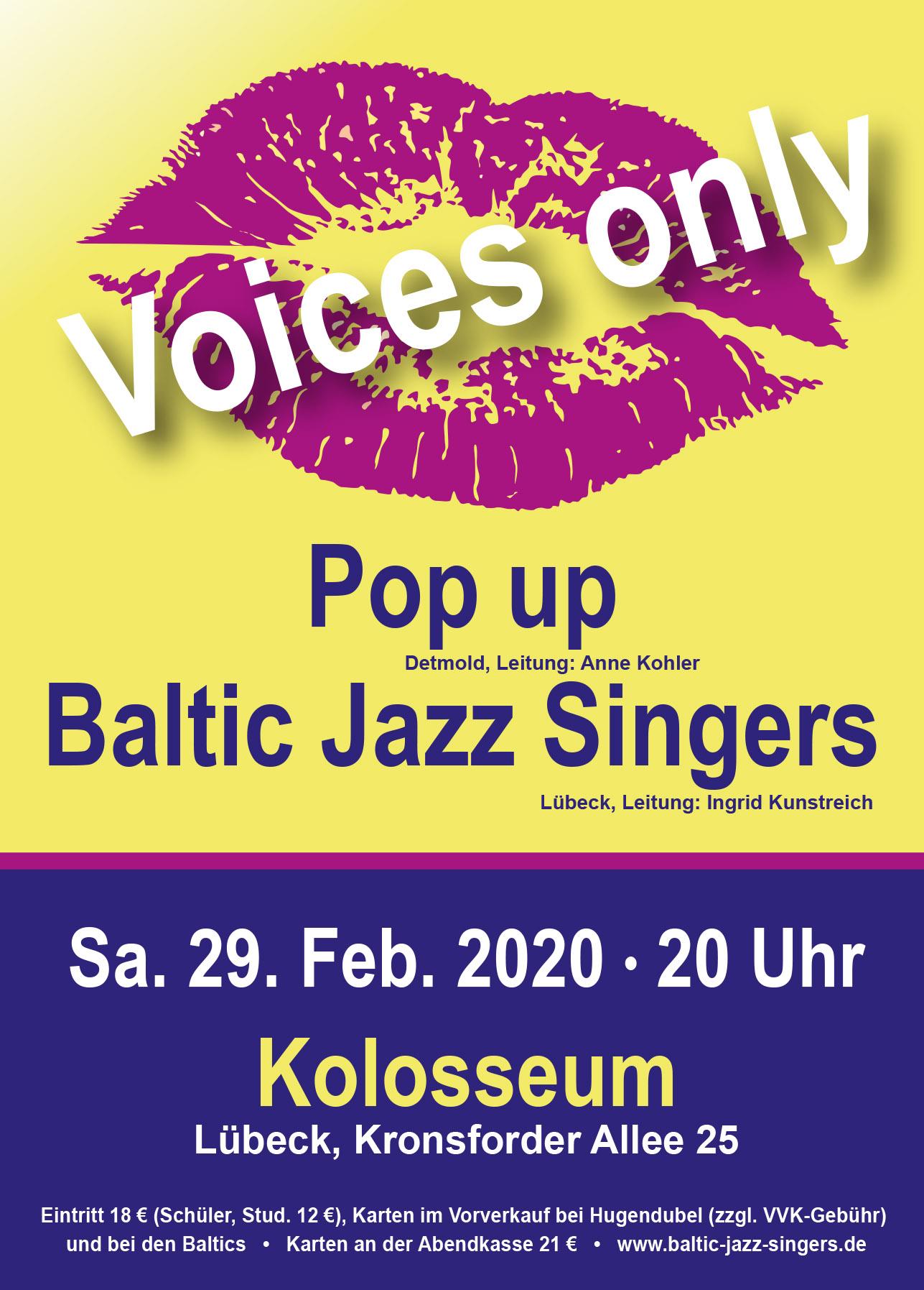 Pop-Up beim Voices-Only 2020 mit den Baltic Jazz Singers in Lübeck, Kolosseum